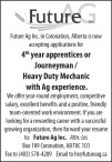 Now accepting applications for 4th year apprentices or Journeyman / Heavy Duty Mechanic