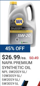 Napa Premium Synthetic Oil