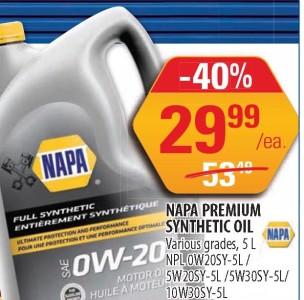 Napa Premium Synthetic Oil